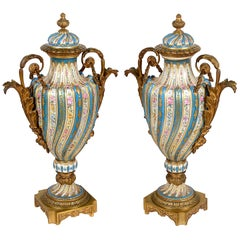 Pair of 19th Century Sèvres Style Lidded Vases