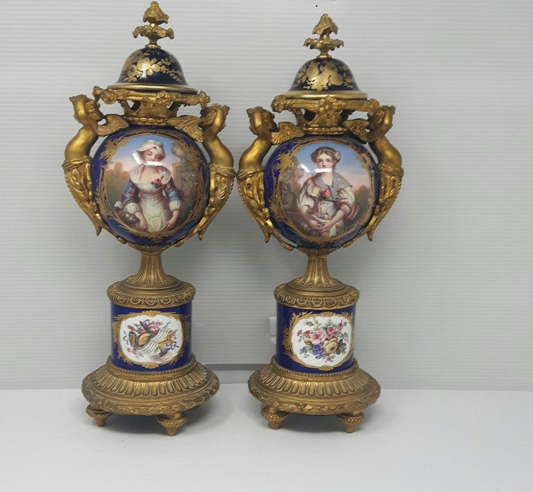 French Pair of 19th Century Sèvres-Style Vases For Sale