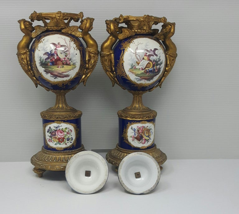 Pair of 19th Century Sèvres-Style Vases In Fair Condition For Sale In London, GB