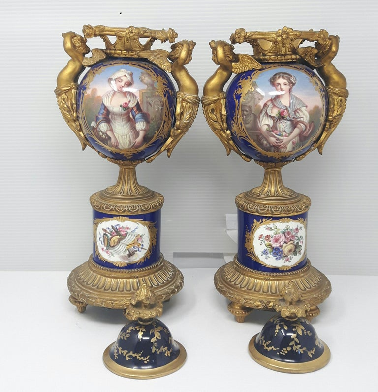 Pair of 19th Century Sèvres-Style Vases For Sale 1