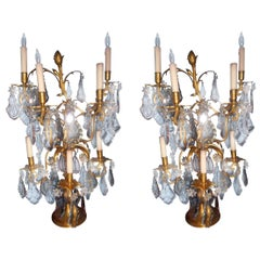 Pair of 19th Century Signed Jansen Girondoles with Colored Baccarat Crystal