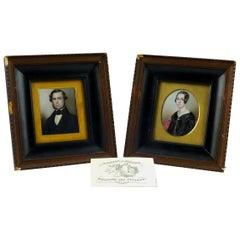 Pair of 19th Century Signed William Miller Miniature Portrait Paintings