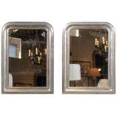 Pair of 19th Century Silver Gilt Louis-Philippe Mirrors with X-Shaped Motifs