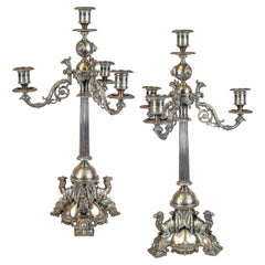 Pair of 19th Century Silvered Bronze Four-Light Candelabra on Camel Base