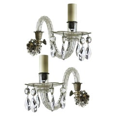 Pair of 19th Century Single-Arm Cut Glass Sconces