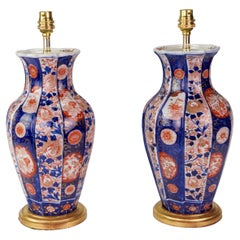 Pair of 19th Century Small Imari Japanese Porcelain Antique Table Lamps