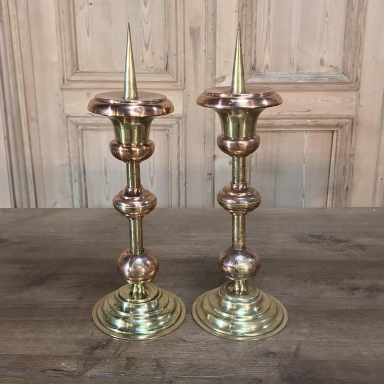 Pair of 19th Century Solid Copper and Brass Alter Candlesticks For Sale 4