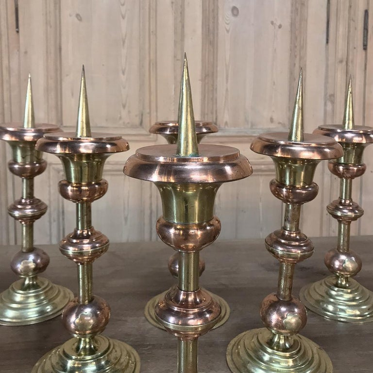 Pair of 19th Century Solid Copper and Brass Alter Candlesticks In Good Condition For Sale In Dallas, TX