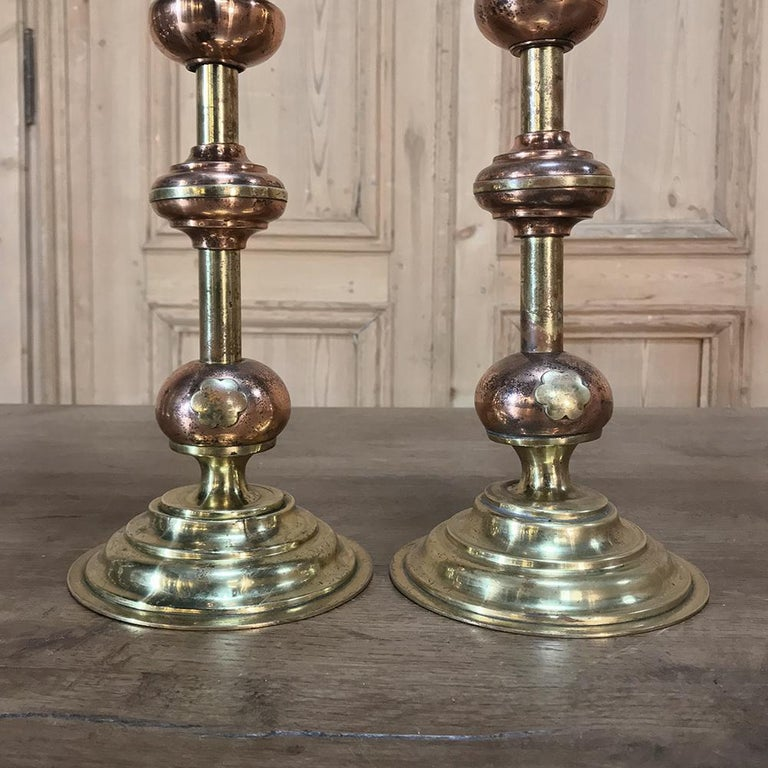 Pair of 19th Century Solid Copper and Brass Alter Candlesticks For Sale 2
