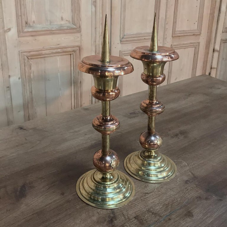Pair of 19th Century Solid Copper and Brass Alter Candlesticks For Sale 3