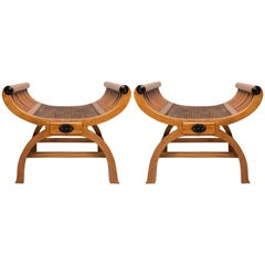 Pair of 19th Century Solid Satinwood Window Seats