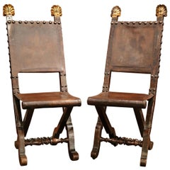 Pair of 19th Century Spanish Carved Walnut Folding Chairs with Original Leather