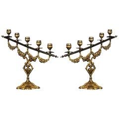 Pair of 19th Century Spanish Gilt Bronze Altar Candelabra, Church Candleholders