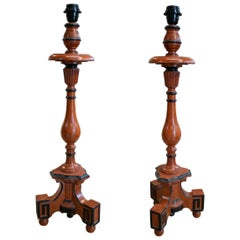 "Pair of 19th Century Spanish Painted Wooden ""Torchere"" Pricket Sticks"