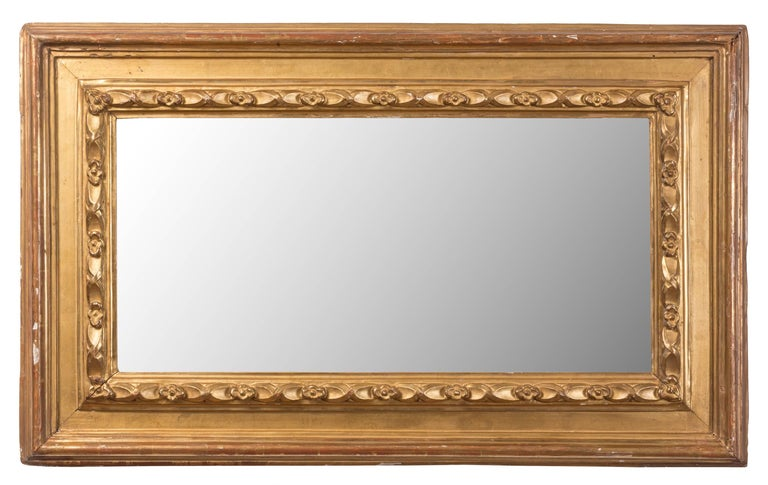Carved Pair of 19th Century Spanish Rectangular Mirrors For Sale