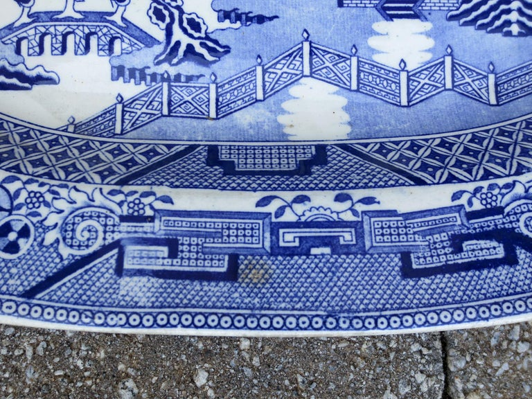 Pair of 19th Century Marked English Staffordshire Blue Willow Pearlware Platters For Sale 14