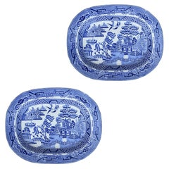 Pair of 19th Century Staffordshire Blue Willow Opaque Pearl Platters