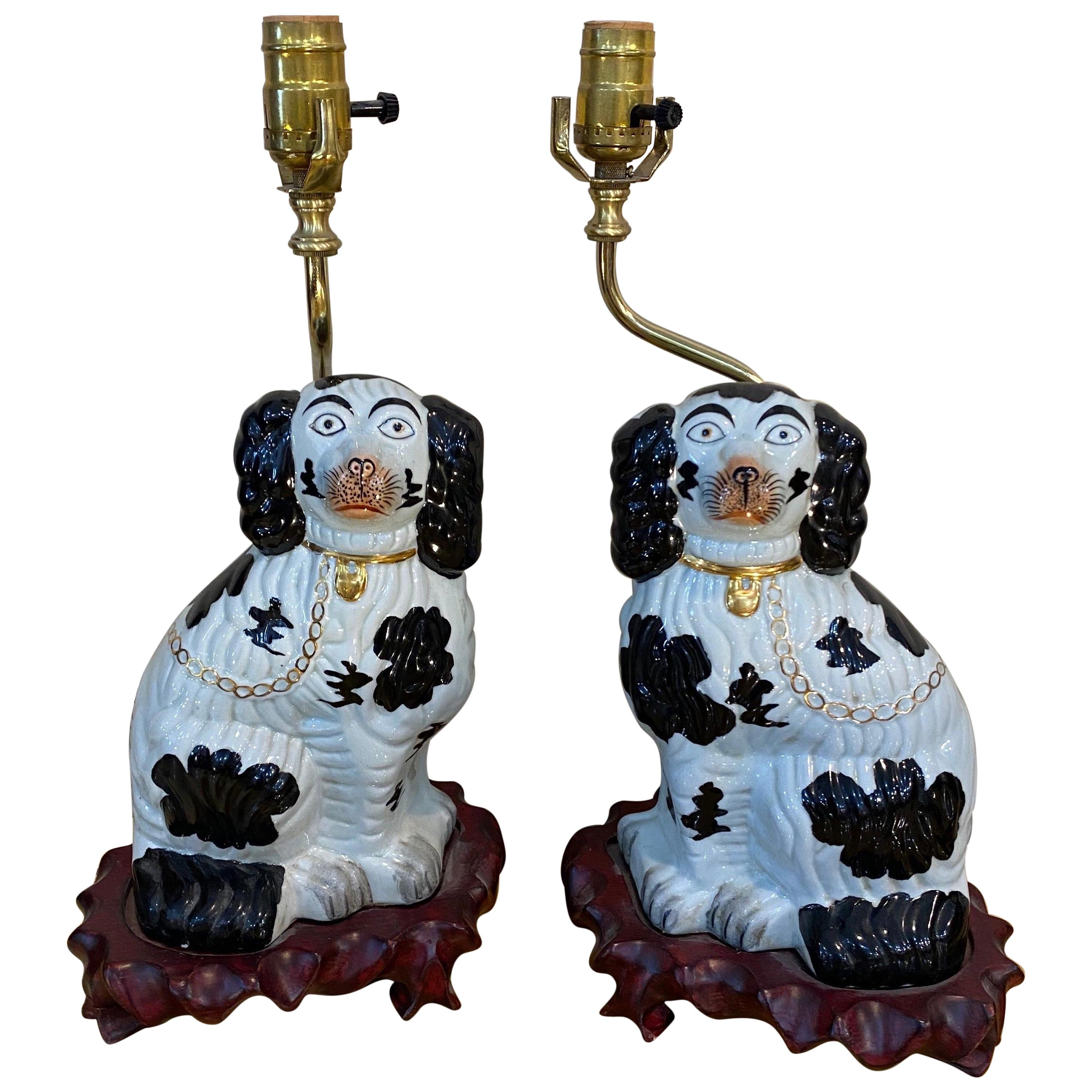 Pair of 19th Century Staffordshire Dogs mounted as Lamps
