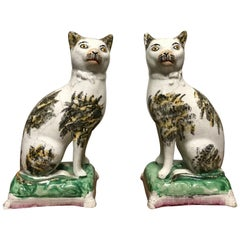 Pair of 19th Century Staffordshire Pottery Cats