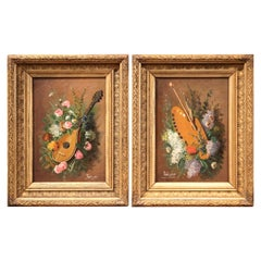 Pair of 19th Century Still Life Paintings in Gilt Frames Signed Petit, 1889