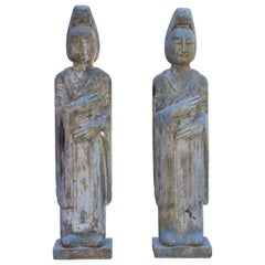 Pair of 19th Century Stone Court Lady Statues