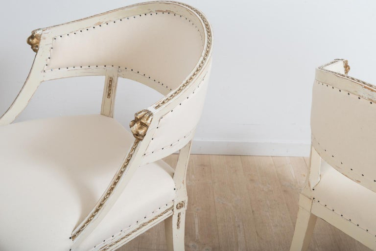 Pair of 19th Century Swedish Barrel Back Armchairs For Sale 4
