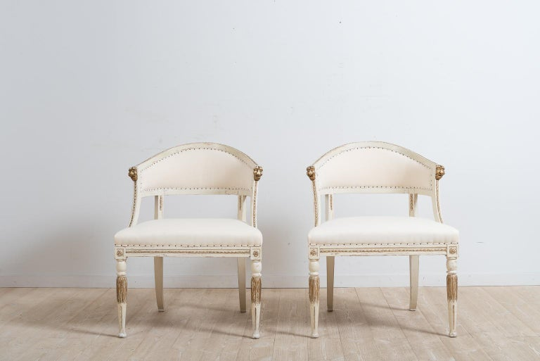 Gustavian Pair of 19th Century Swedish Barrel Back Armchairs For Sale