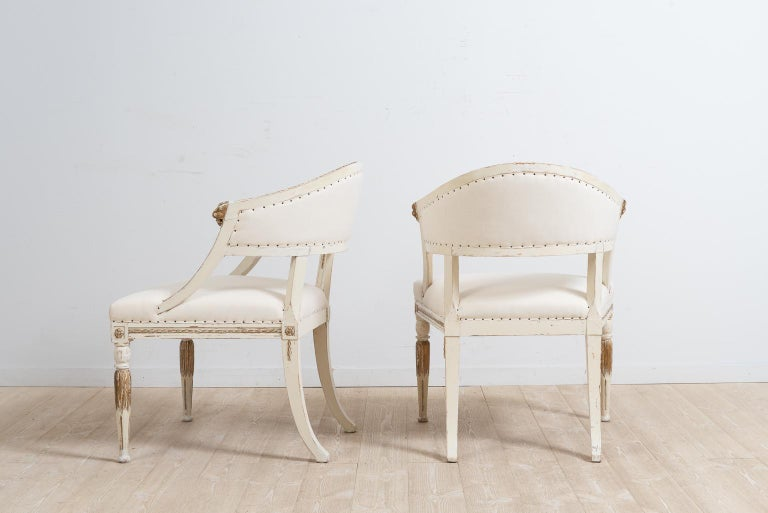 Hand-Crafted Pair of 19th Century Swedish Barrel Back Armchairs For Sale
