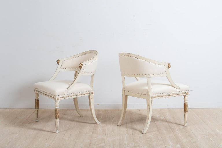 Pine Pair of 19th Century Swedish Barrel Back Armchairs For Sale