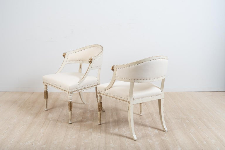 Pair of 19th Century Swedish Barrel Back Armchairs For Sale 1