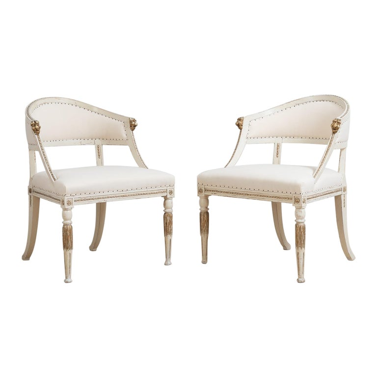 Pair of 19th Century Swedish Barrel Back Armchairs For Sale