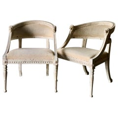 Pair of 19th Century Swedish Barrel Back Chairs