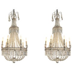 Pair of 19th Century Swedish Beaded Crystal Basket Form Chandeliers
