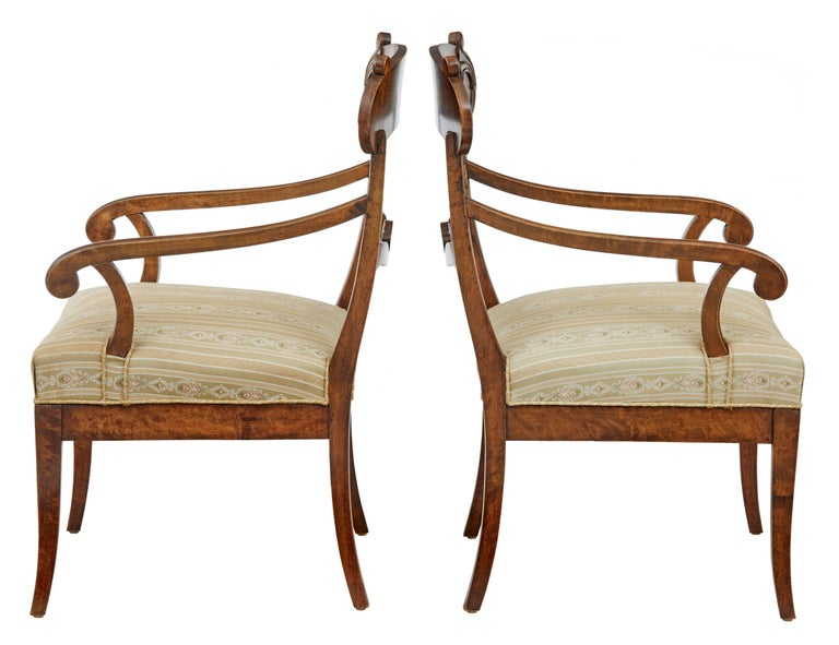 Elegant pair of Swedish dark birch armchairs, circa 1880.