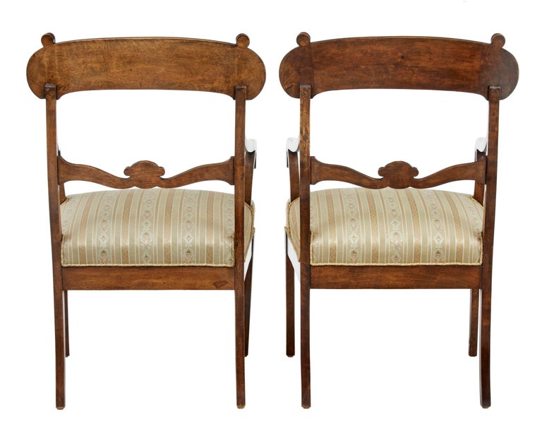 Late Victorian Pair of 19th Century Swedish Birch Armchairs For Sale