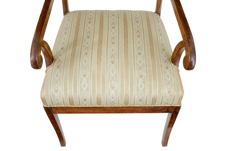 Pair of 19th Century Swedish Birch Armchairs In Good Condition For Sale In Debenham, Suffolk