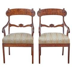 Pair of 19th Century Swedish Birch Armchairs