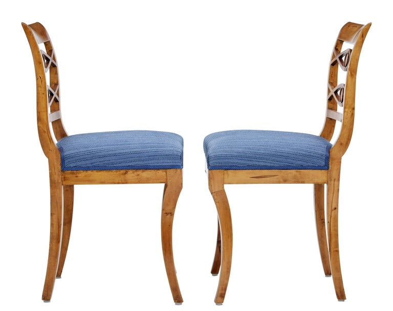 Late Victorian Pair of 19th Century Swedish Birch Side Chairs For Sale