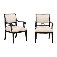 Pair of Swedish Empire Armchairs in Black w/Gold Accents from the Mid-19th C.