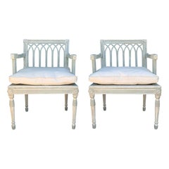 Pair of 19th Century Swedish Custom Painted Armchairs with Cane Seats