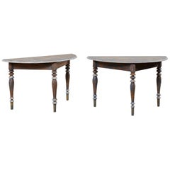 Pair of 19th Century Swedish Demilune Tables with Beautiful Blue Coloring