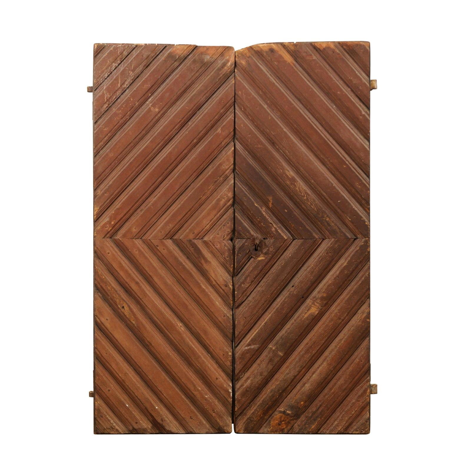 Pair of 19th Century Swedish Diamond Pattern Doors
