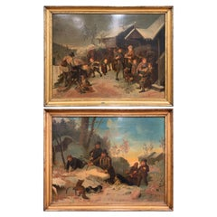 Pair of 19th Century Swedish Framed Pastoral Paintings Signed B. Nordenberg