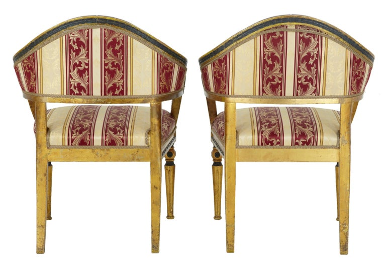 Gustavian Pair of 19th Century Swedish Gilt and Ebonized Armchairs For Sale