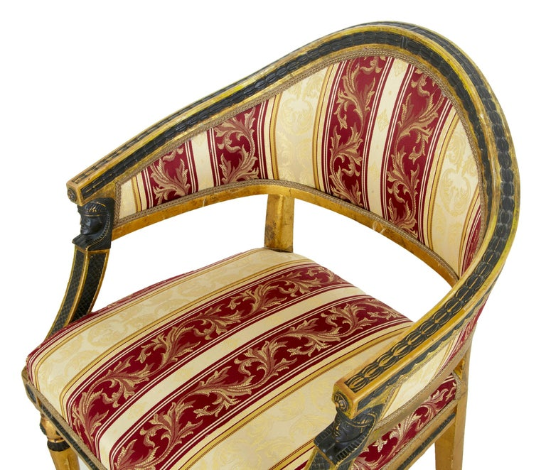 Pair of 19th Century Swedish Gilt and Ebonized Armchairs In Good Condition For Sale In Debenham, Suffolk