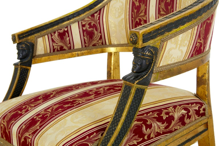 Giltwood Pair of 19th Century Swedish Gilt and Ebonized Armchairs For Sale