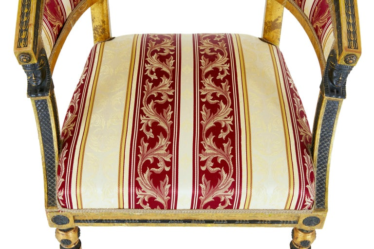 Pair of 19th Century Swedish Gilt and Ebonized Armchairs For Sale 2