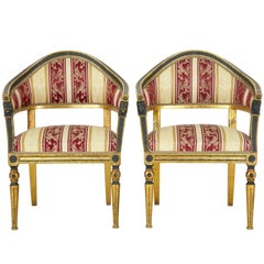 Pair of 19th Century Swedish Gilt and Ebonized Armchairs