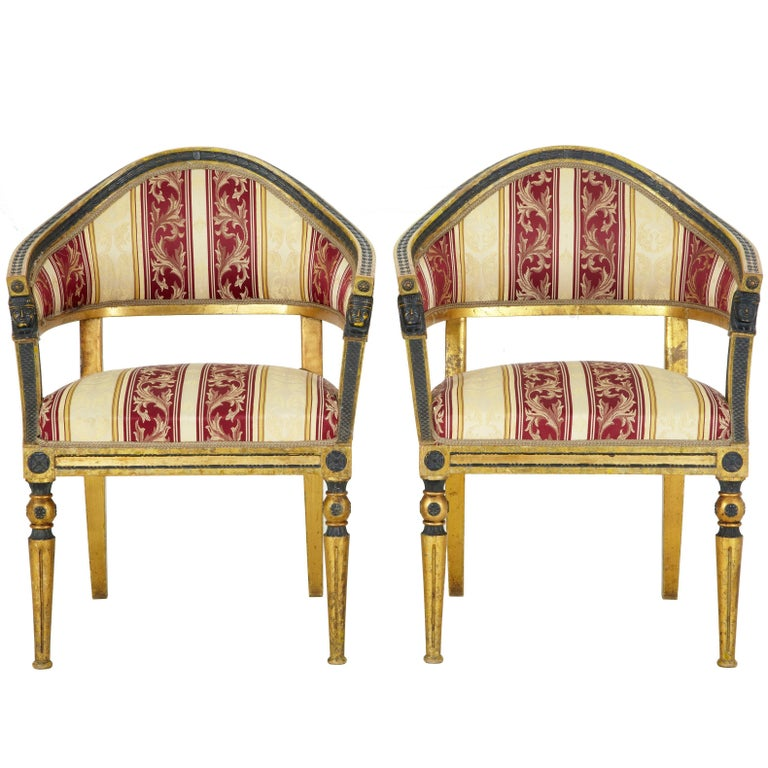 Pair of 19th Century Swedish Gilt and Ebonized Armchairs For Sale