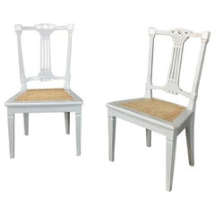 Pair of 19th Century Swedish Louis XVI Painted and Caned Chairs
